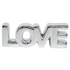 Palavra Decorativa Love Prateada 18,5X3,5X9cm - Prata