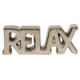 Palavra Decorativa Relax 19,5X3x7,5Cm - Gold
