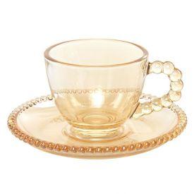 Xicara Cafe C/ Pires Pearl Ambar 80Ml - Cristal