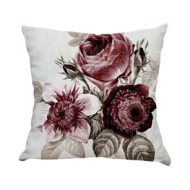 Almofada Estampada De Veludo 48X48cm - Flowers Rose