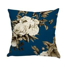 Almofada Estampada De Veludo 48X48cm - Floral Blue