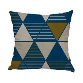 Almofada Estampada De Veludo 48X48cm - Triângulos Blue