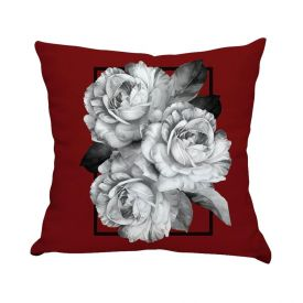 Almofada Estampada De Veludo 48X48cm - Rosas Moldura