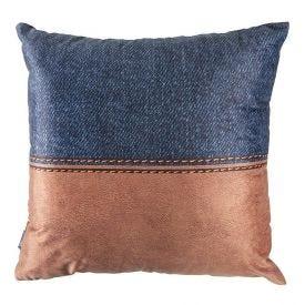 Almofada Veludo Jeans Havan - Azul Couro