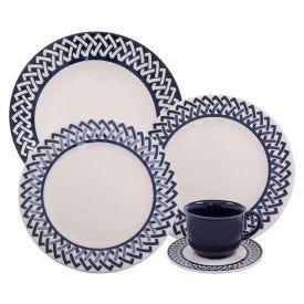 Aparelho De Jantar Havan Casa Trama Blue 20 Peças - Cerâmica