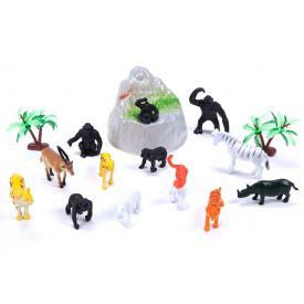 Balde com 13 Animais da Fazenda Coqueiro e Pedra Yoyo Kids - DIVERSOS