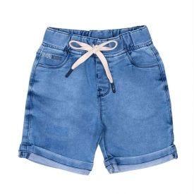 Bermuda 1 a 3 anos Jeans Jogger com Barra Dobrada Yoyo Kids Azul