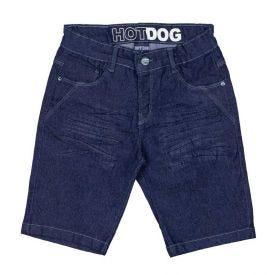 Bermuda 4 a 10 anos Jeans Amassado Hot Dog Azul Escuro