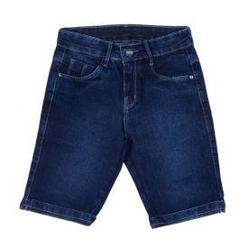Bermuda 4 a 10 anos Jeans com Barra Virada Hot Dog Azul