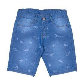 Bermuda 4 a 10 Anos Jeans com Estampa Figurinhas Hot Dog Azul