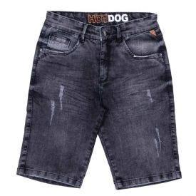 Bermuda 4 a 10 anos Jeans com Puídos Hot Dog Preto