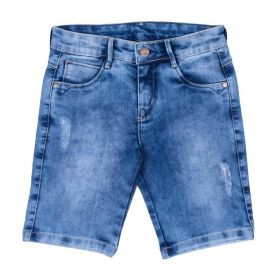 Bermuda 4 a 10 anos Jeans com Ralado Hot Dog