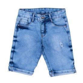 Bermuda 4 a 10 anos Jeans com Rasgo Hot Dog  Azul