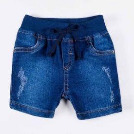 Bermuda de Bebê Jeans Cós em Ribana Yoyo Baby Indigo