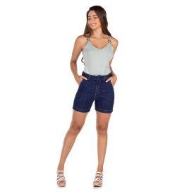 Bermuda Jeans 1/2 Coxa com Cinto Fivela Patrícia Foster Dark Blue
