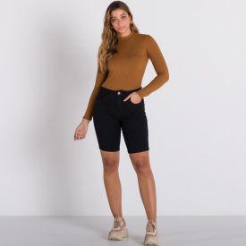 Bermuda Jeans Black Patrícia Foster Preto