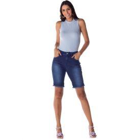 Bermuda Jeans Ciclista Barra Desfiada Patrícia Foster Blue
