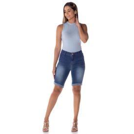 Bermuda Jeans Ciclista Bolso Faca Patrícia Foster Blue