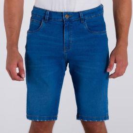 Bermuda Jeans com Puídos na Barra Marc Alain Blue Medio