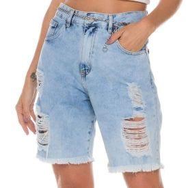 Bermuda Jeans com Puídos Zune By Sabrina Sato