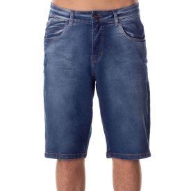 Bermuda Jeans com Used e Pinos Marc Alain Blue