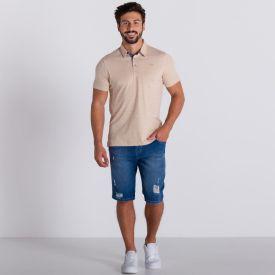 Bermuda Jeans em Lavagem Média Marc Alain Blue Medio