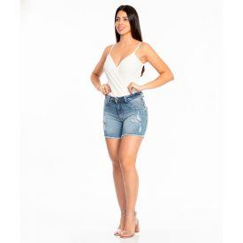Bermuda Jeans em Meia Coxa e Aplique Biotipo Blue