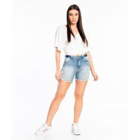 Bermuda Jeans Meia Coxa com Aplicação Biotipo Blue
