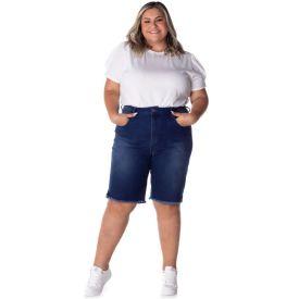 Bermuda Jeans Plus Size Ciclista Patrícia Foster Mais Blue