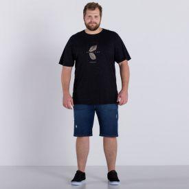 Bermuda Jeans Plus Size Lavagem Média Marc Alain Blue Escuro