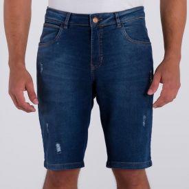 Bermuda Jeans Skinny com Puídos Marc Alain Blue Escuro