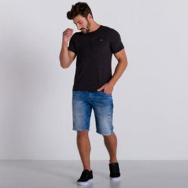 Bermuda Jeans Slim com Puídos Marc Alain Blue Medio
