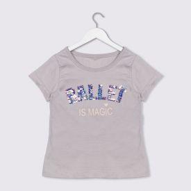 Blusa 1 a 3 anos Ballet Lantejoulas Yoyo Kids Cinza Imperio