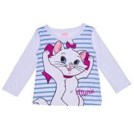 Blusa 1 a 3 Anos Listrada Gatinha Marie Disney Branco