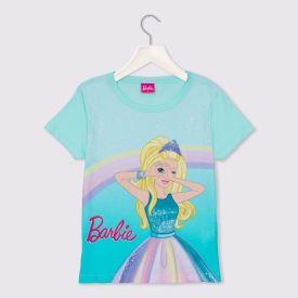Blusa 1 a 3 anos M/Malha Barbie com Glitter Mattel Azul Agua