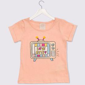 Blusa 1 a 3 anos Malha Love Retrô Yoyo Kids Coral