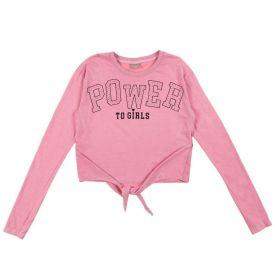 Blusa 12 a 16 anos Power To Girls Fakini Rosa Claro