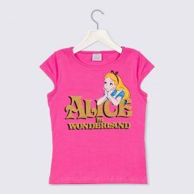 Blusa 4 a 10 anos Cotton Alice com Glitter Dourado Rosa Chiclete