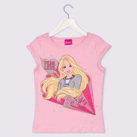 Blusa 4 a 10 anos Cotton Barbie Fears Less Mattel Rosa Claro