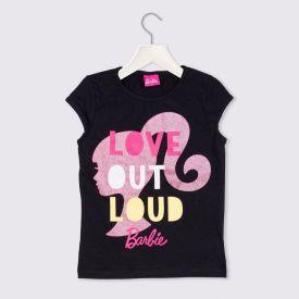 Blusa 4 a 10 anos Cotton Barbie Love com Glitter Mattel Preto
