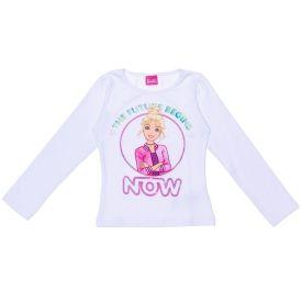 Blusa 4 a 10 anos Cotton Estampa Barbie Now Mattel Branco