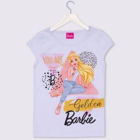 Blusa 4 a 10 anos Cotton Golden Barbie Mattel Branco