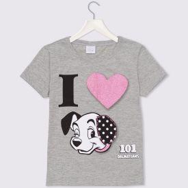 Blusa 4 a 10 anos M/Malha 101 Dálmatas Disney Cinza Mescla