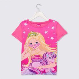 Blusa 4 a 10 anos M/Malha Barbie + Unicórnio Mattel Rosa Chiclete