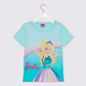 Blusa 4 a 10 anos M/Malha Barbie com Glitter Mattel Azul Agua