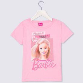 Blusa 4 a 10 anos M/Malha Barbie Positive Vibes Mattel Rosa Petala