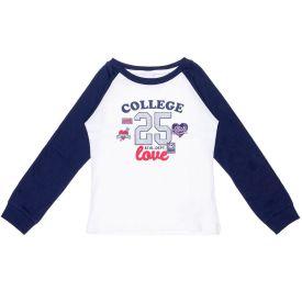 Blusa 4 a 10 anos M/Malha College 25 Love Fakini Marfim/Marinho