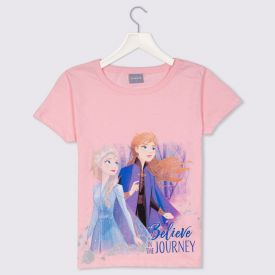 Blusa 4 a 10 anos M/Malha Frozen II Elsa e Ana Disney Rosa Quartzo