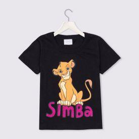 Blusa 4 a 10 anos M/Malha Simba com Glitter Disney Preto