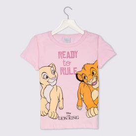 Blusa 4 a 10 anos M/Malha Simba Ready To Rule Disney Rosa Claro